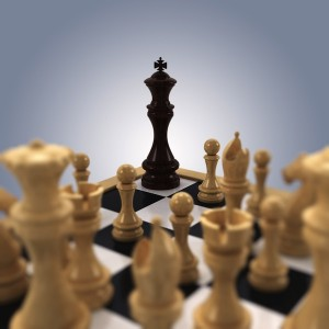 Starting Point: This picture has no relation to actual chess play, but it drives across the vision -- trap the other king.